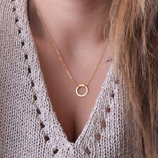 Women Gold Simple fashion Thin Chain Necklace With Ring Pendant Forever Circle