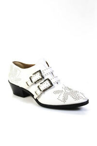 Chloe Womens Susanna Studded Buckle Booties White Leather Size 39.5 9.5
