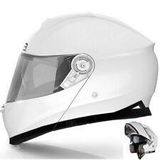 Casco Moto Scooter Modulare Integrale Omologato Doppia Visiera Sole Bianco Lucid