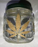 Stash Jar 💚💨 Glass Airtight Storage Container- Glitter Weed Leaf (Clear)