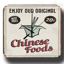 Goditi il nostro ORIGINALE CINESE alimenti Retrò Vintage Cartello in metallo latta Orologio da parete