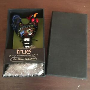 True Art Glass Rooster Bottle Stopper by True Fabrications With Original Box