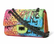 Luxury Women Handbag Graffiti Quilted Faux Leather Shoulder Cross Body Chain Bag
