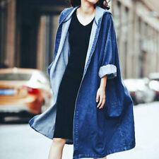 1PCS jeans para mujer Denim largo abrigo abrigo de moda Chaqueta Suelta Casual ropa de calle