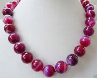 "New 10mm Natural Fuchsia Stripe Agate Onyx Gemstone Round Beads Necklace 18"""