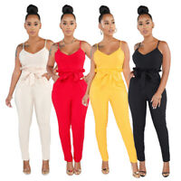 Womens Rompers Jumpsuit Sleeveless Dresses Halter Playsuit Slim Siamese Trousers