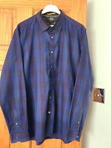 Ted Baker Mens Dark Blue Long Sleeve Shirt Ted Size 6UK 2XL
