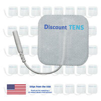 """TENS 2""""x2"""" Premium Wired Electrode Pads, 40 Pads (20 Pair)"""