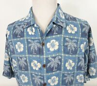 Tommy Bahama Large Hawaiian Shirt Floral Tropical Palm Trees Blue White Silk S/S