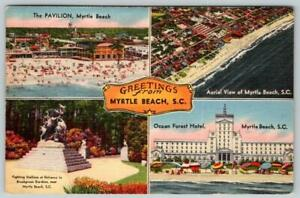 1958 GREETINGS FROM MYRTLE BEACH SC*4 VIEWS*OCEAN FOREST HOTEL*AERIAL*PAVILION
