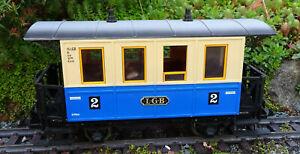 LGB 3012 BLUE & CREAM 2nd CLASS 4 WHEEL COACH WITH METAL WHEELS G SCALE  PIKO