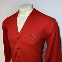 Vtg 60s 70s Sweater TURTLE Logo Red Mid Century Cardigan Challenger MENS LARGE
