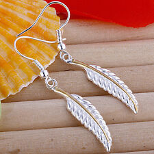 Wholesale 925Sterling Silver Fashion Jewelry Feather Woman Dangle Earrings E038