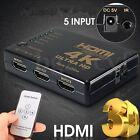 4K 5-Port 1080p HDMI Switcher Selector Splitter Hub Remote Control For PS3 HDTV