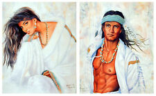 Native American Indian Brave Warrior And Indian Maiden Two Set Art Print (8x10)