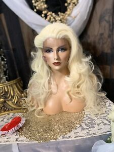 """MELLOW YELLOW BLONDE BEAUTY 25""""Waves, LACE FRONT No Part Heat Friendly Wig"""