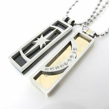 Partner Necklace Crescent Star Stainless Steel 2 Pendant Silver +2 Chains