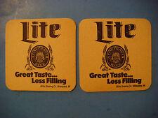 Beer Pub COASTER ~ Miller Brewing Co Lite ~ Great Taste Less Filling ~ WISCONSIN