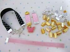 """30 Gold & Silver 3/8"""" Ribbon/Trim Clasp Clip Bead/Charm Finding/Tool/Beading JF7"""