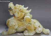 "10"" Chinese Old Jade Pure Hand Carved Dragon Pixiu Brave troops Beast Statue"
