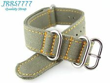 22mm Canvas Watch Strap Band Sports Military Army Green Professional ZULU JRRS77