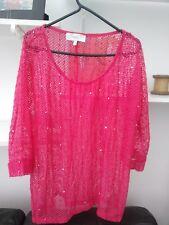 Ladies BNWOT Very Trendy Bright pink Next Sequin 3/4 Sleeve Top Size 10
