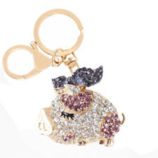 Fly Purple Wing Butterfly Pig Rhinestone Crystal Purse Bag Key Chain Lovely Gift