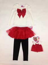 "What A Doll Matching Doll Shirt Skirt Legging Set Fits 18"" doll S 6/6x New"