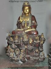 Huge Old China Temple Red Bronze gilt 18 Arhat Guanyin Kuan-yin Buddha Sculpture