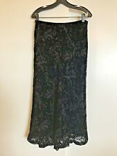 RALPH LAUREN Black Velvet Burnout SKIRT 12P Petite Midi Calf Length