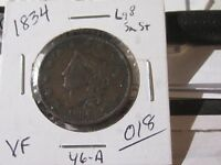 """1834 Coronet Head Large Cent, Very Fine Cond - Large """"8"""", Small Stars"""