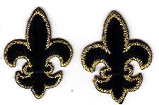 FLEUR DE LIS-BLACK w/GOLD (2)(Small)--Iron On Embroidered Applique /Mardi Gras