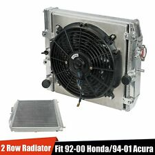 2-Row Aluminum Core Racing Radiator & 12V Fan Shroud For 94-00 EG/EH/EJ/EM/DC MT