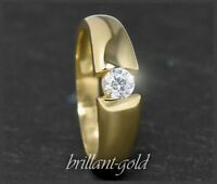 Diamant Brillant 585 Gold Ring 0,26ct, Top Wesselton, VS2, 14 Karat Gelbgold