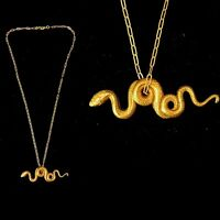 Vintage 1930s French Die Struck Egyptian Snake Coiled Necklace Fabulous!