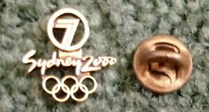 2000 Channel 7 Sydney Olympic Pin Press Media Logo Rings Gold Version Small