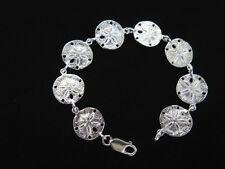 "Sterling Silver Bracelet Sand Dollar Link  7.25""  Signed ASW 16.9g  NEW  925 B78"