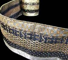 "Luxury Wide Black Gold Metallic Elegant Mesh Glitter Semi Sheer Wired Ribbon 4""W"