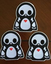 """Lot of Three Skelanimals Penguin Pen Iron-on patch Approx 2.5""""x3"""""""