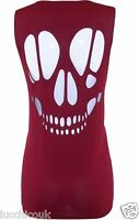 Womens Ladies Skull Back Laser Cut Out Sleeveless Open Back Top  T Shirt Vest