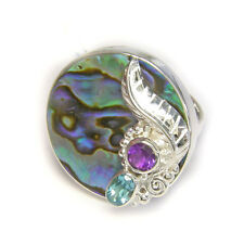 Offerings Sajen 925 Ss Paua Shell Ring with Amethyst & Blue Topaz Size 7