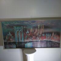 1993 Artmaster Studios Oil Pastel Textured NY Brooklyn Bridge With World Trade C
