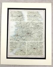 1899 Antique Map of English Cities Manchester Liverpool Hull Newcastle Bristol