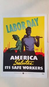 National Safety Council poster Ralph Moses Labor Day No.7501 1950s 8.5x12.5 nos