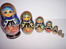Matryoshka Russian Nesting Doll Christmas Fairytales Design Exclusive 7pc Signed