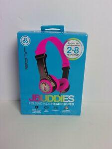 JBuddies Folding Kids Headphones Black/Pink w Monkey - For ages 2-8 - NEW Opened