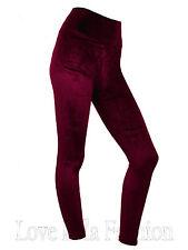 Womens Velvet Leggings High Waist Evening Leggins Soft Plush Velvety Pants New