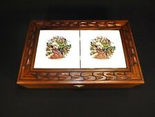 Vintage Carved Wood Jewelry Box Trinket Box Tile Top Asian Theme Velvet Int Feet