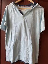 Free Planet Mens Large Hooded T Shirt Kangaroo Pocket Blue NWOT