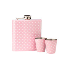 Hip Flask Set Stainless Steel Pink Polka Dot Design 6oz Flask with 2 Cups New